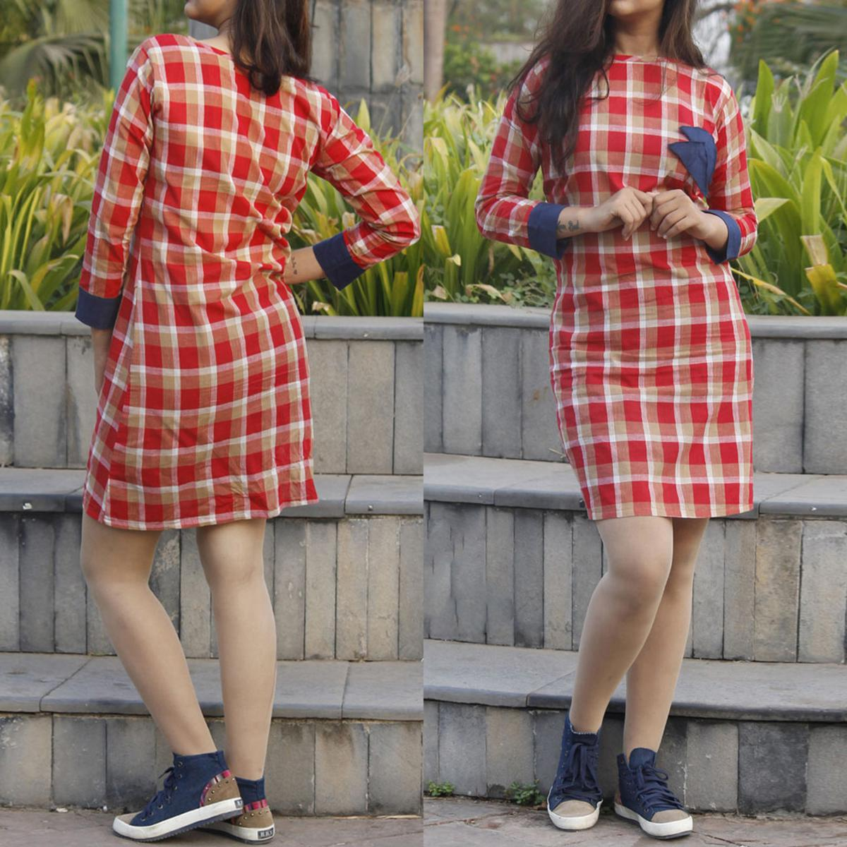 Trendy Red Colored Checked Cotton Tunic