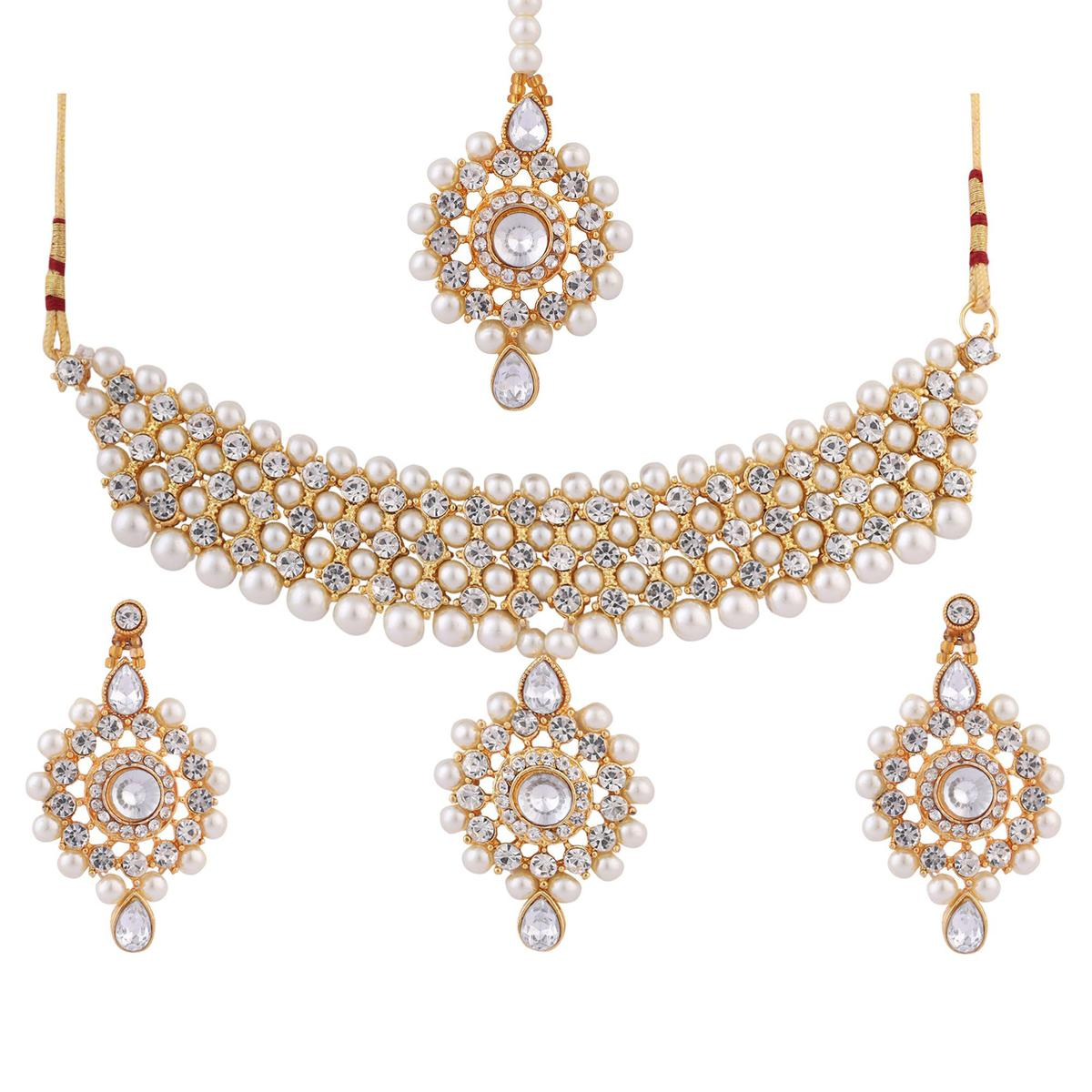 ZaffreCollections - Twinkle Elegant Party Wear White Jewellery Set with Maang Tikka for Women and Girls