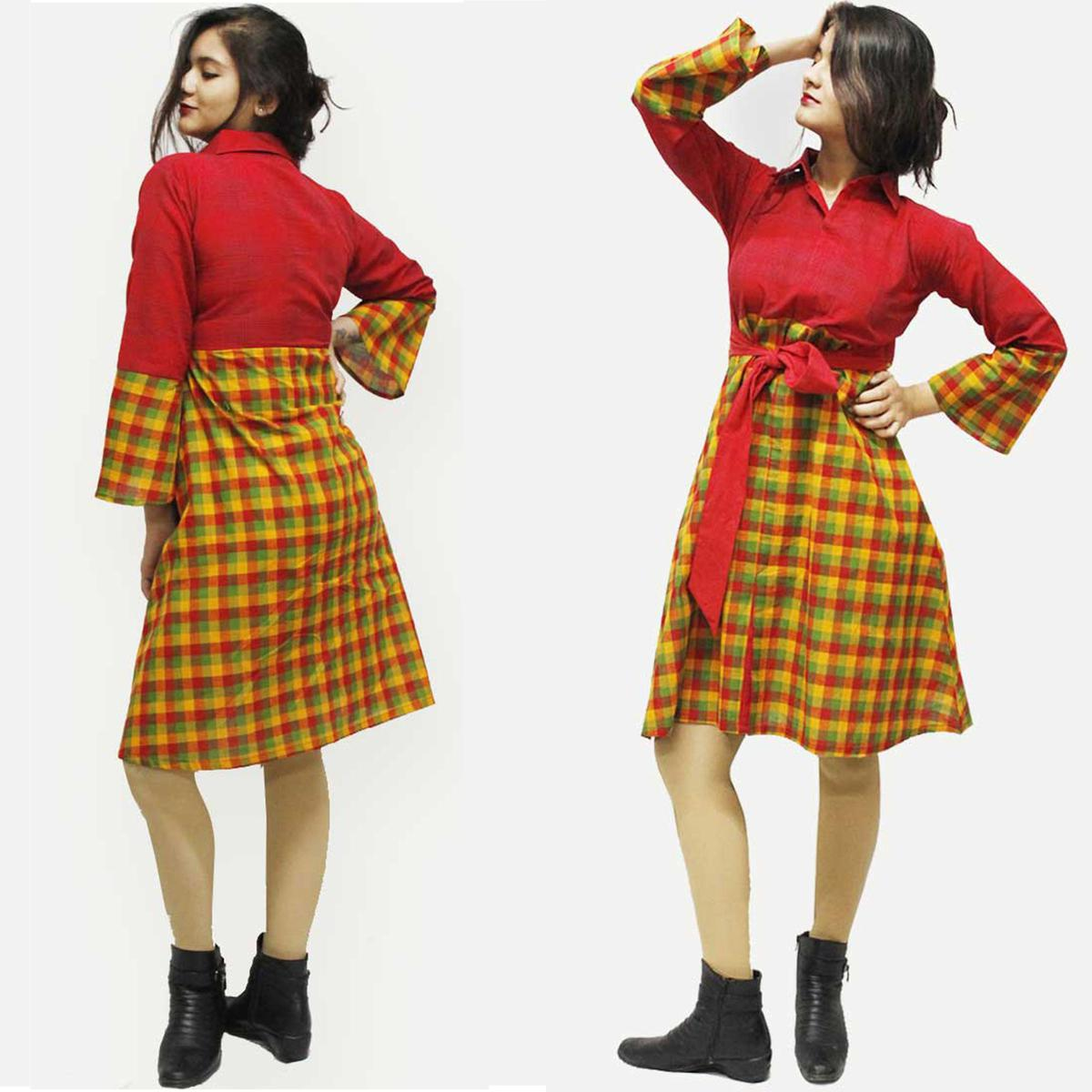 Unique Red-Yellow Colored Checked Cotton Tunic