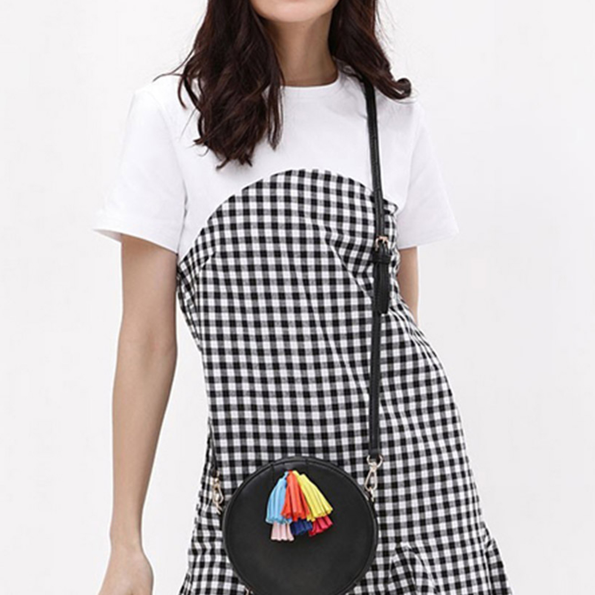 Mesmerising Black-White Colored Checked Cotton Tunic