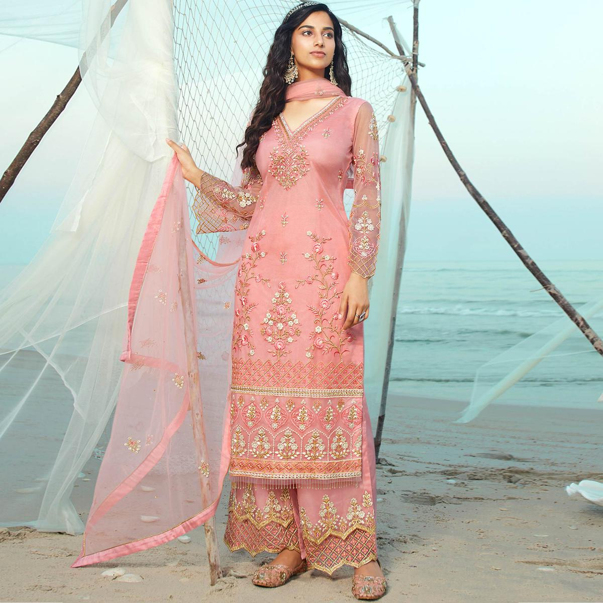Stylee Lifestyle Pink Floral Embroidered Net Unstitched Partywear Suit