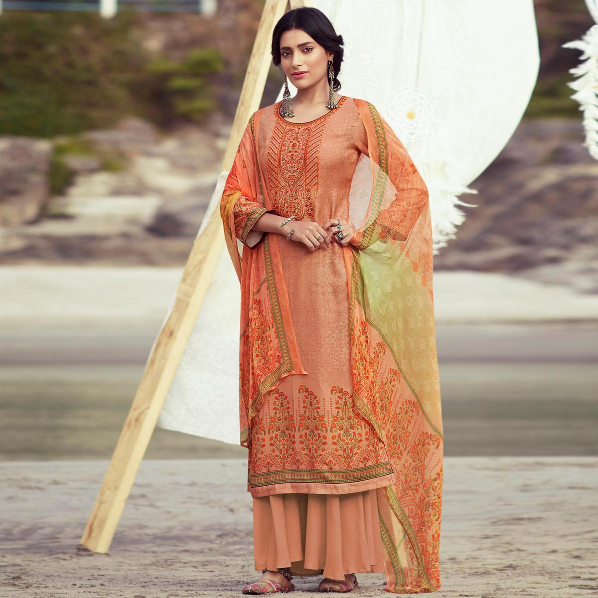 Stylee Lifestyle Peach Floral Embroidered Pashmina Unstitched Partywear Suit