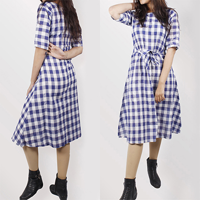 Bold Blue Colored Checked Cotton Tunic