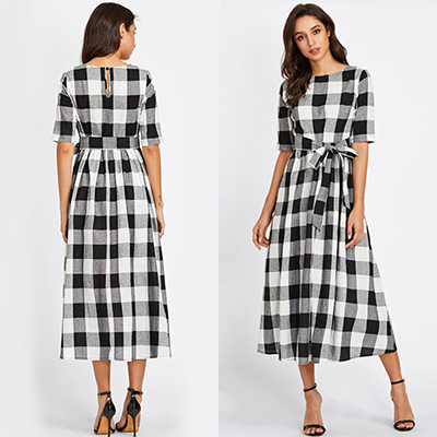 Flirty Black-White Colored Checked Cotton Tunic