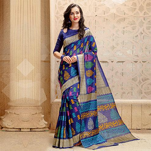 Purple Colored Casual Printed Bhagalpuri Silk Saree