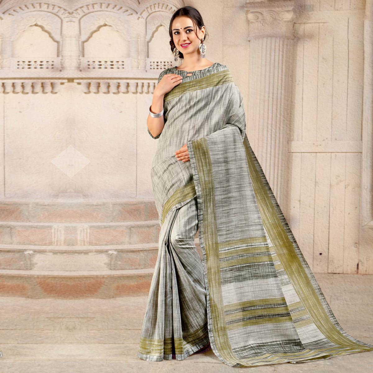 Light Grey Colored Casual Printed Bhagalpuri Silk Saree