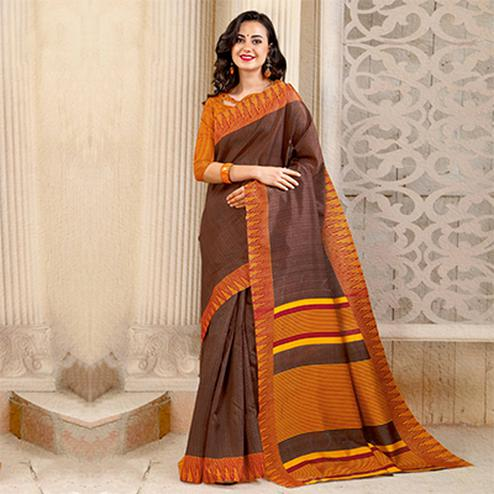 Brown Colored Casual Printed Bhagalpuri Silk Saree