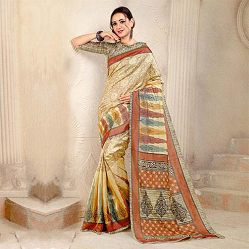 Beige Colored Casual Printed Bhagalpuri Silk Saree