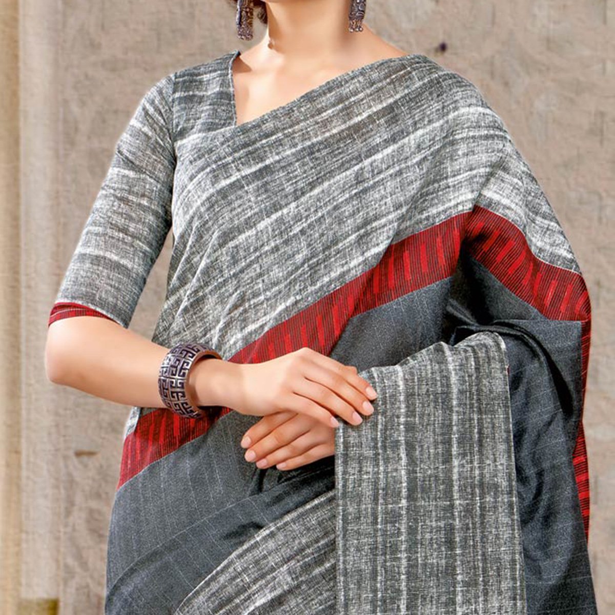 Dark Grey Colored Casual Printed Bhagalpuri Silk Saree
