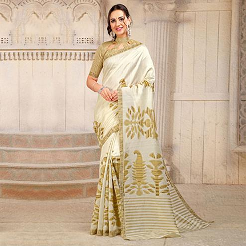 Cream Colored Casual Printed Bhagalpuri Silk Saree