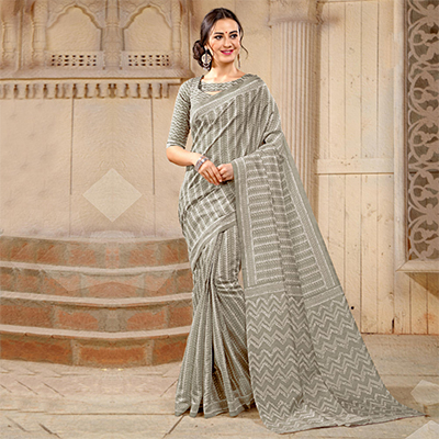Grey Colored Casual Printed Bhagalpuri Silk Saree