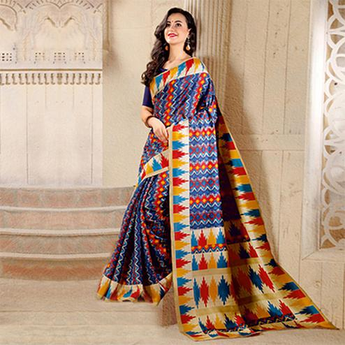Blue Colored Casual Printed Bhagalpuri Silk Saree