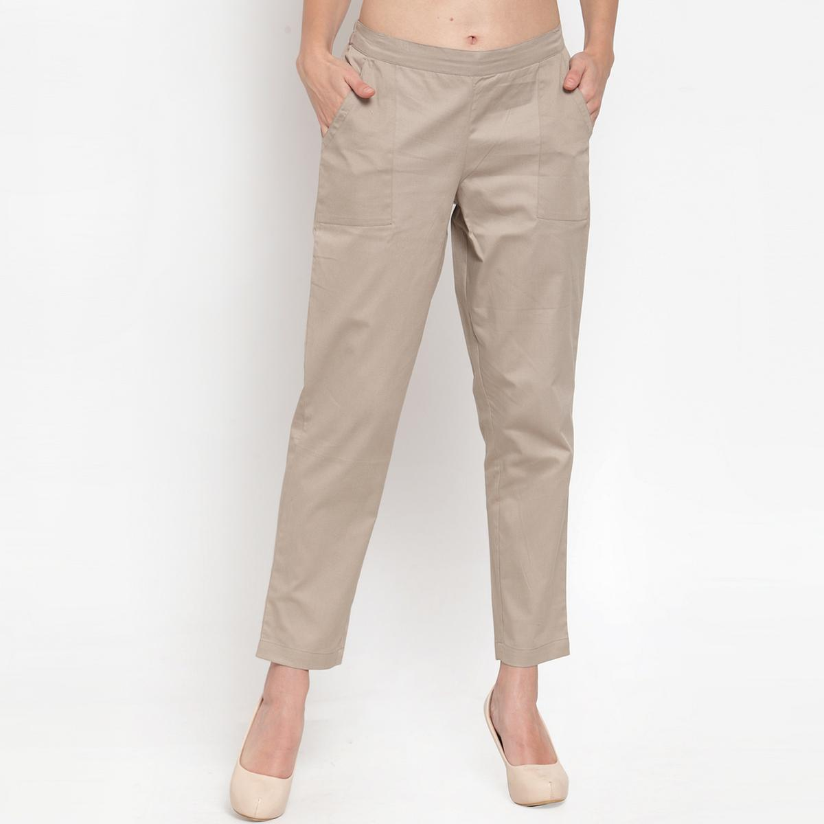 Ayaany - Beige All Purpose Casual Cotton Pants With Smart Fit