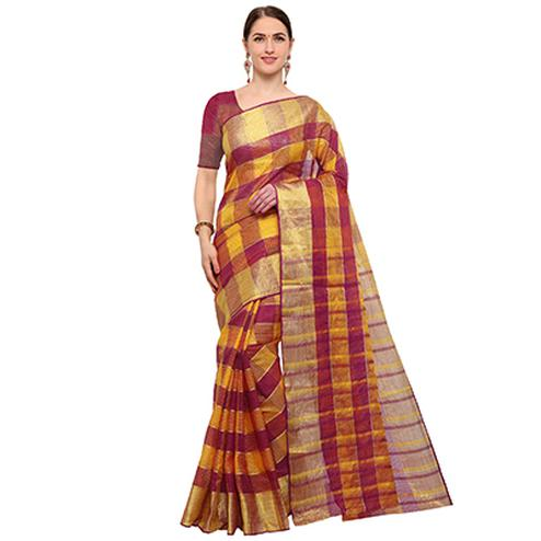 Elegant Maroon Colored Festive Wear Checked Art Silk Banarasi Saree
