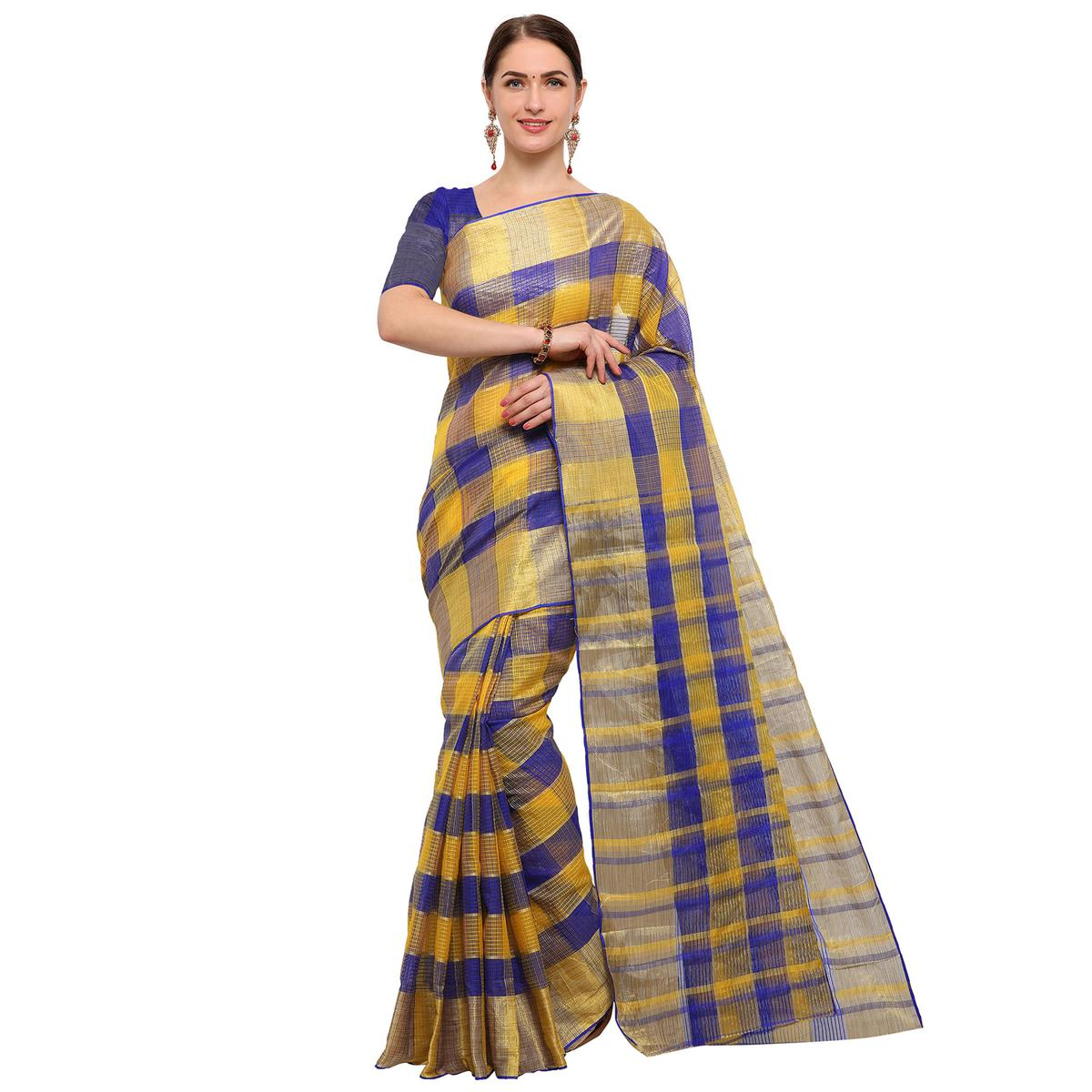 Attractive Blue Colored Festive Wear Checked Art Silk Banarasi Saree