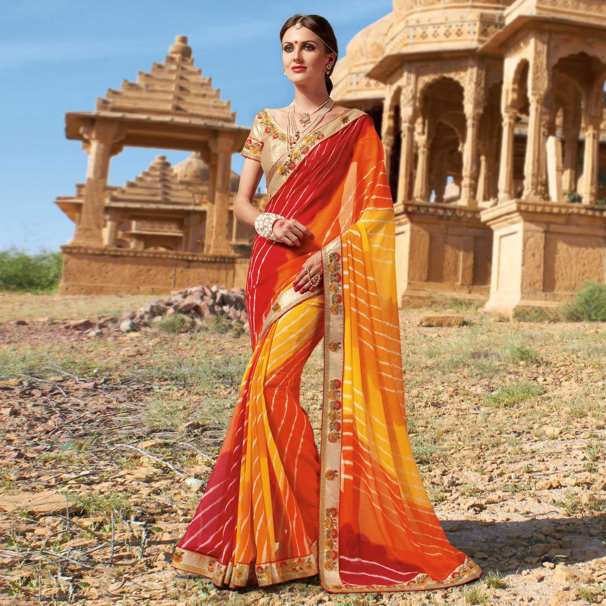 Yellow - Red Festive Wear Georgette Saree