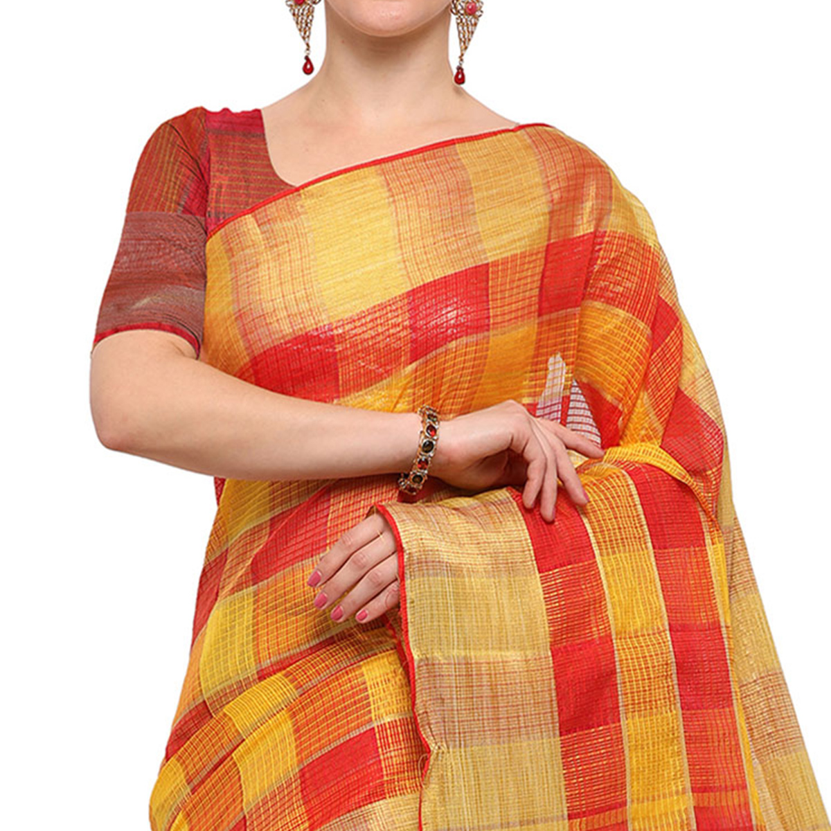 Trendy Red Colored Festive Wear Checked Art Silk Banarasi Saree