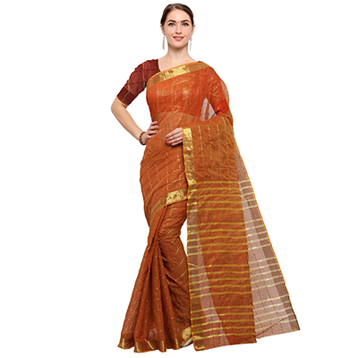 Desiring Brown Colored Festive Wear Checked Art Silk Saree