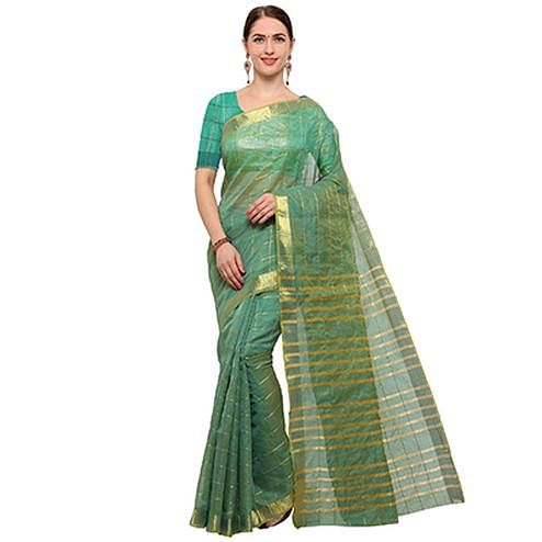 Unique turquoise Green Colored Festive Wear Checked Art Silk Saree