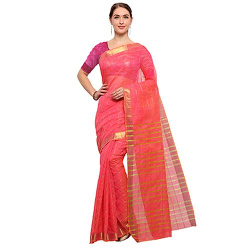 Pretty Pink Colored Festive Wear Checked Art Silk Saree