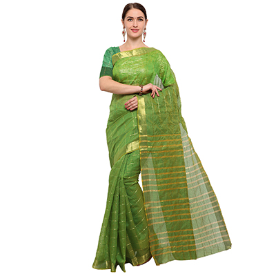 Perfect Green Colored Festive Wear Checked Art Silk Saree