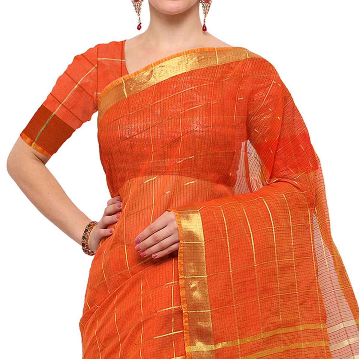 Glowing Orange Colored Festive Wear Checked Art Silk Saree