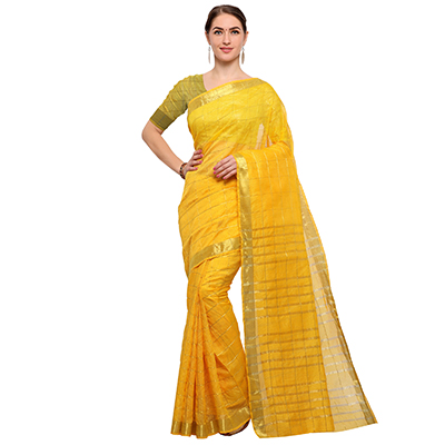 Gorgeous Yellow Colored Festive Wear Checked Art Silk Saree