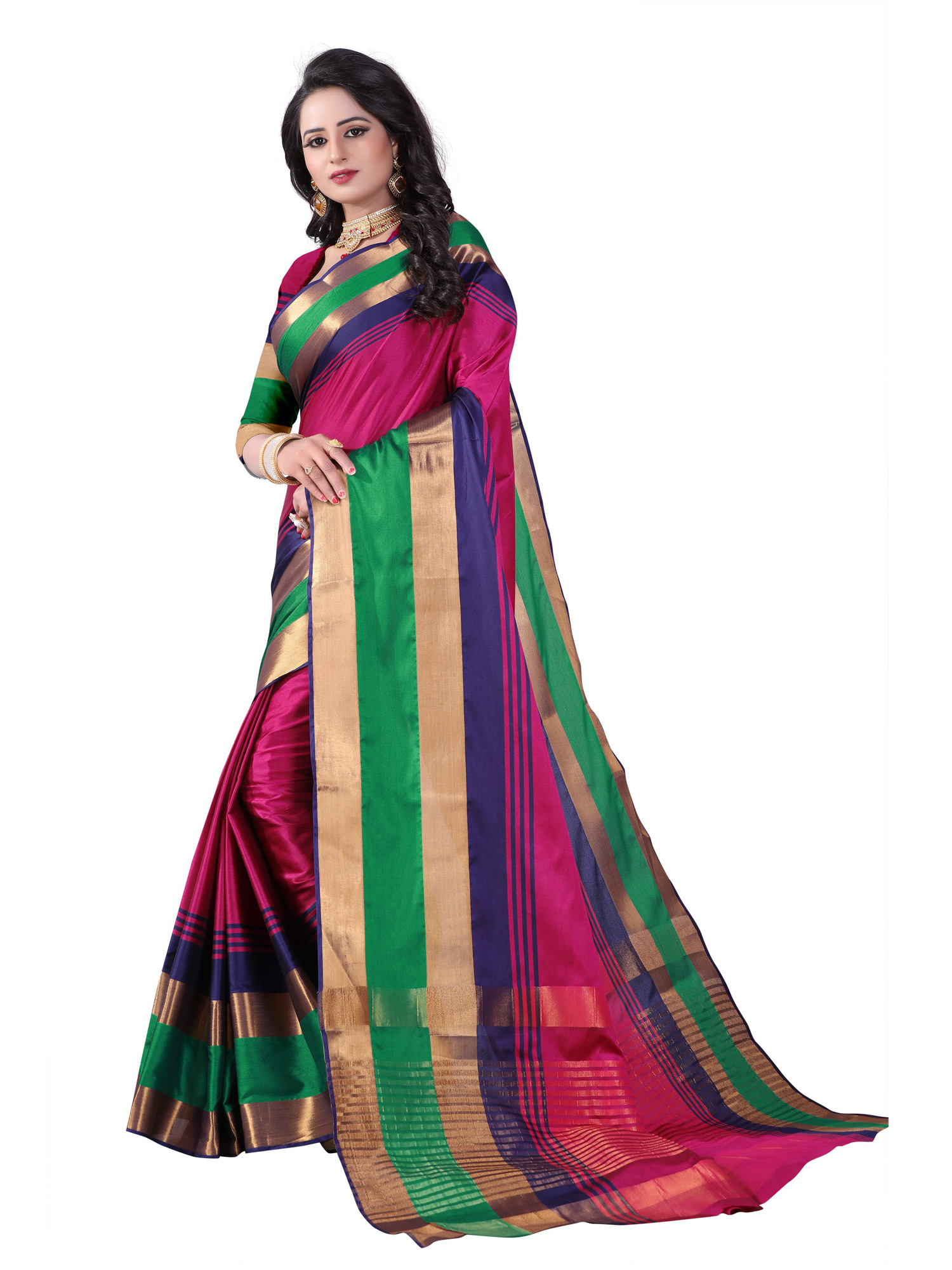 Mesmerising Pink Colored Festive Wear Cotton Silk Saree