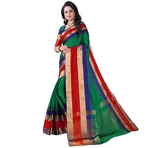 Refreshing Green Colored Festive Wear Cotton Silk Saree