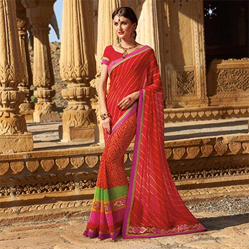 Red Georgette Embroidered Border Saree