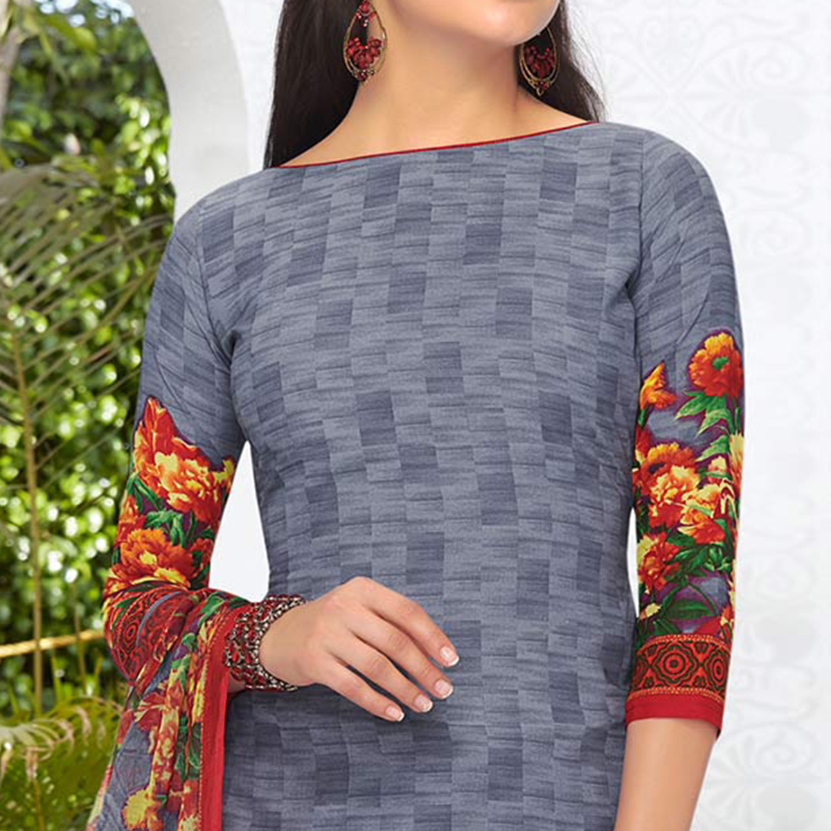 Grey Colored Casual Printed Leon Crepe Dress Material