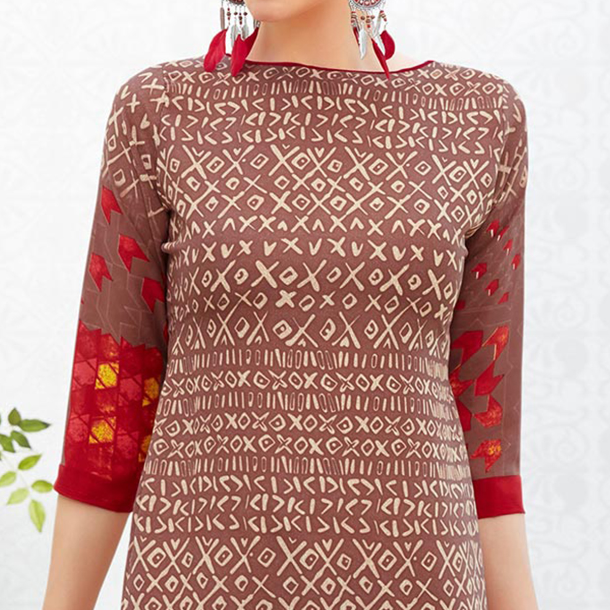 Brown-Red Colored Casual Printed Crepe Dress Material