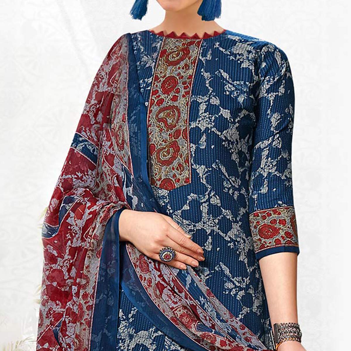 Blue Colored Casual Printed Crepe Dress Material