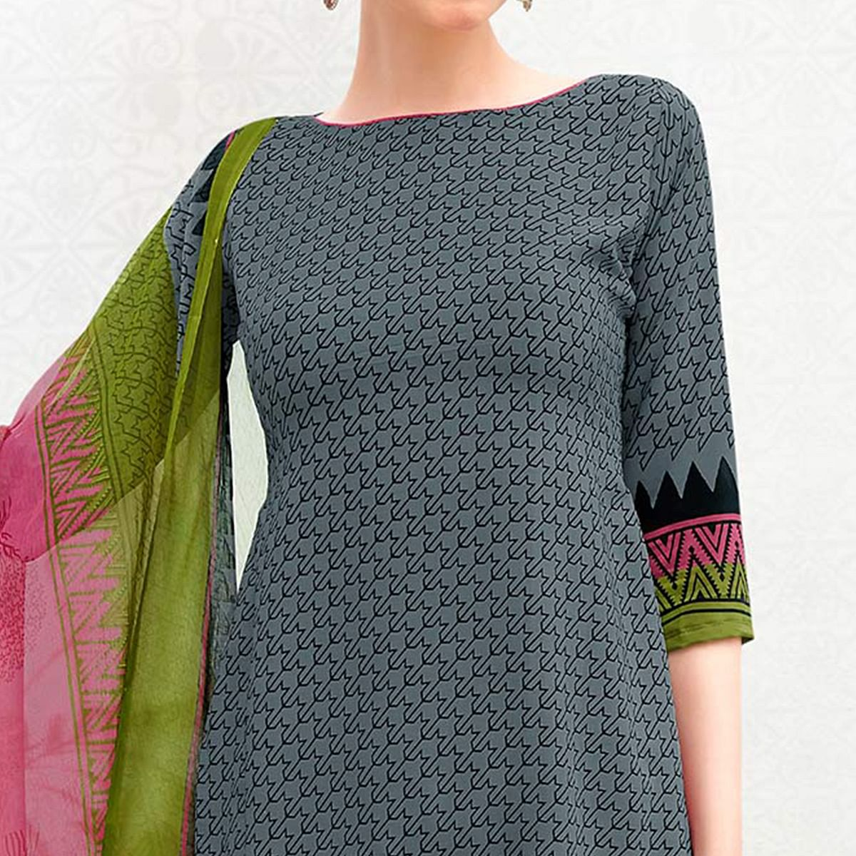 Grey Colored Casual Printed Crepe Dress Material
