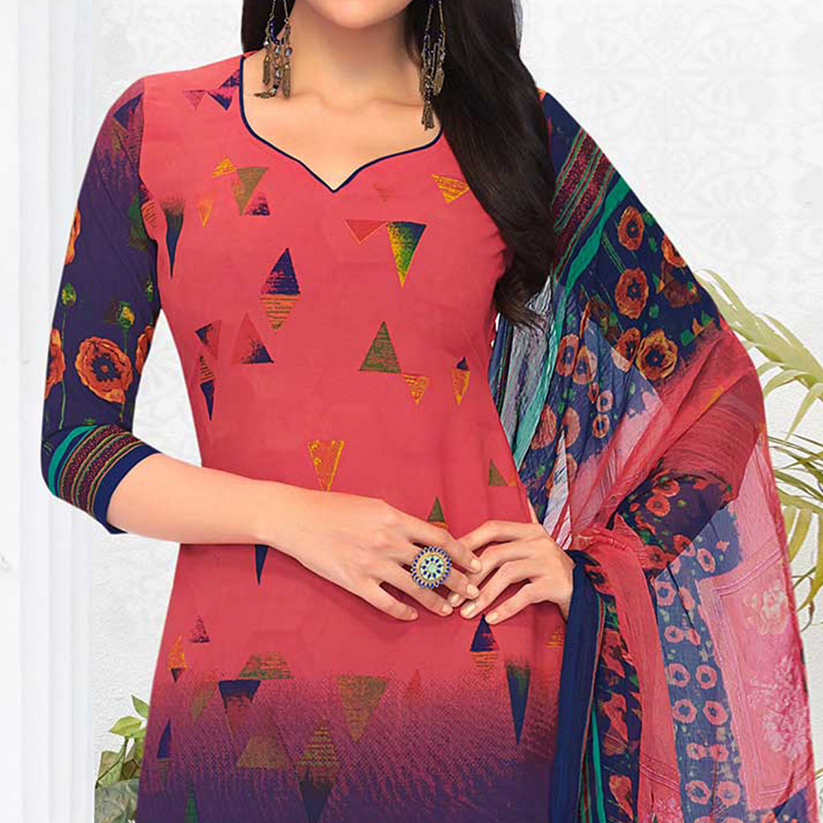 Pink-Blue Colored Casual Printed Crepe Dress Material