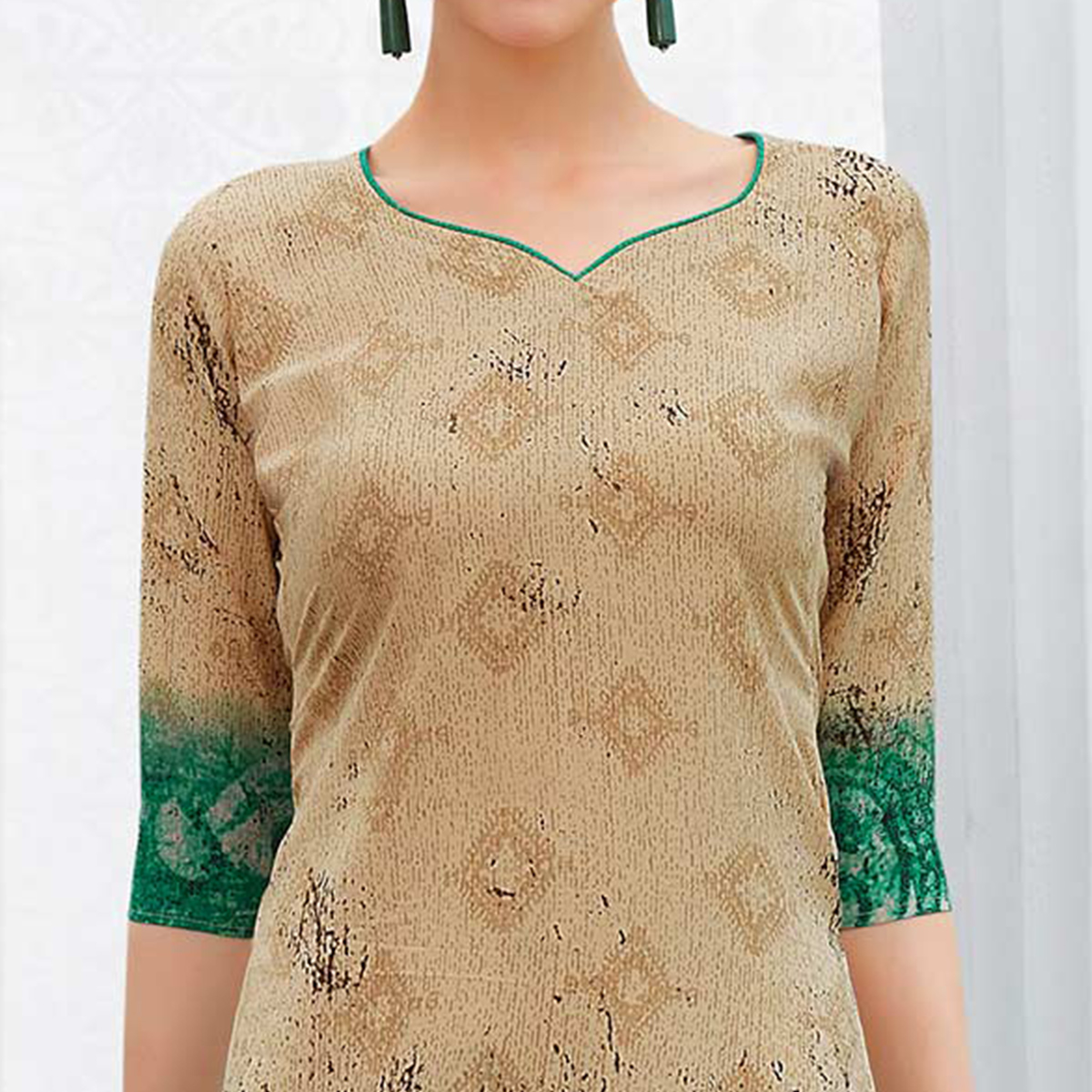 Beige-Aqua Green Colored Casual Printed Crepe Dress Material