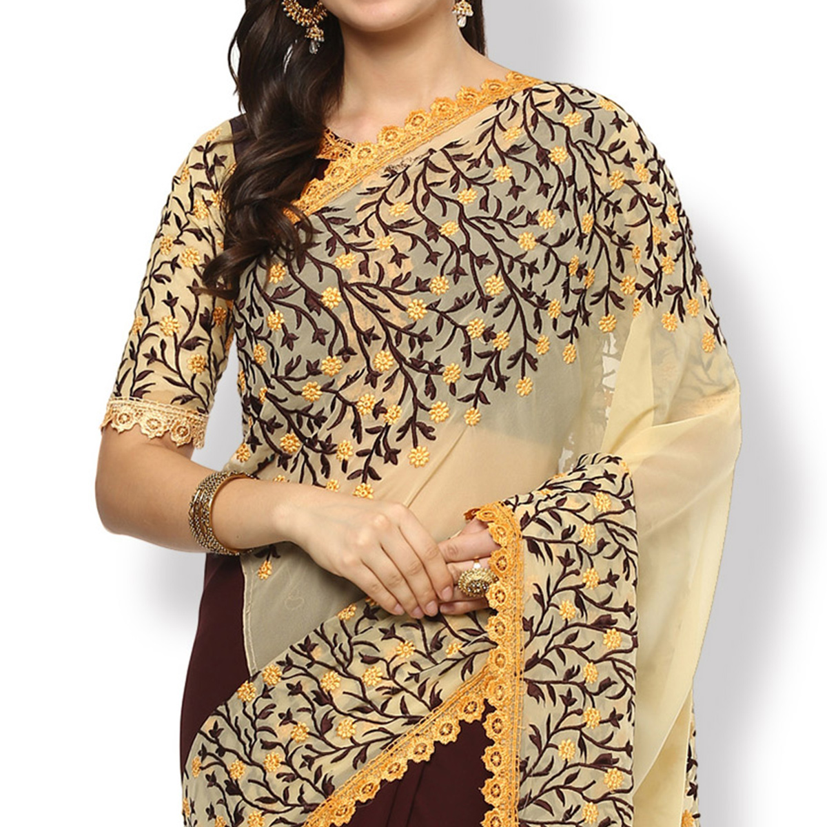 Pretty Brown-Beige Colored Partywear Floral Embroidered Georgette Saree