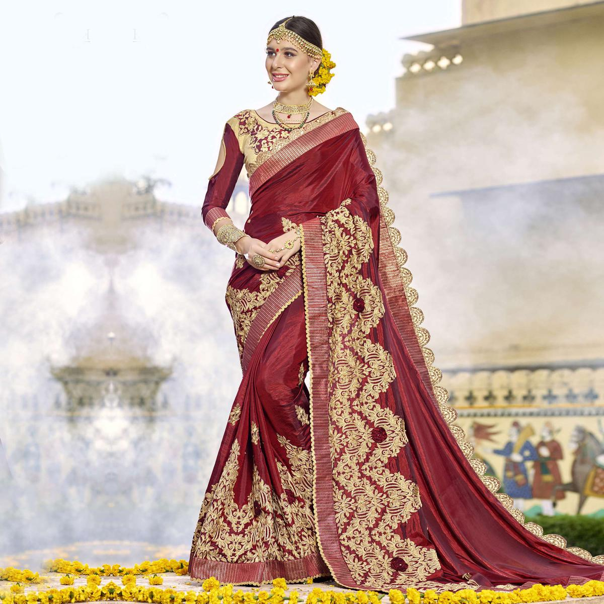 Beautiful Maroon Colored Partywear Designer Embroidered Art Silk Saree