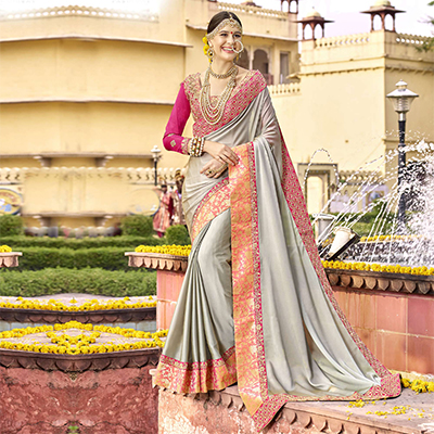 Majestic Slate Grey Colored Partywear Designer Embroidered Art Silk Saree