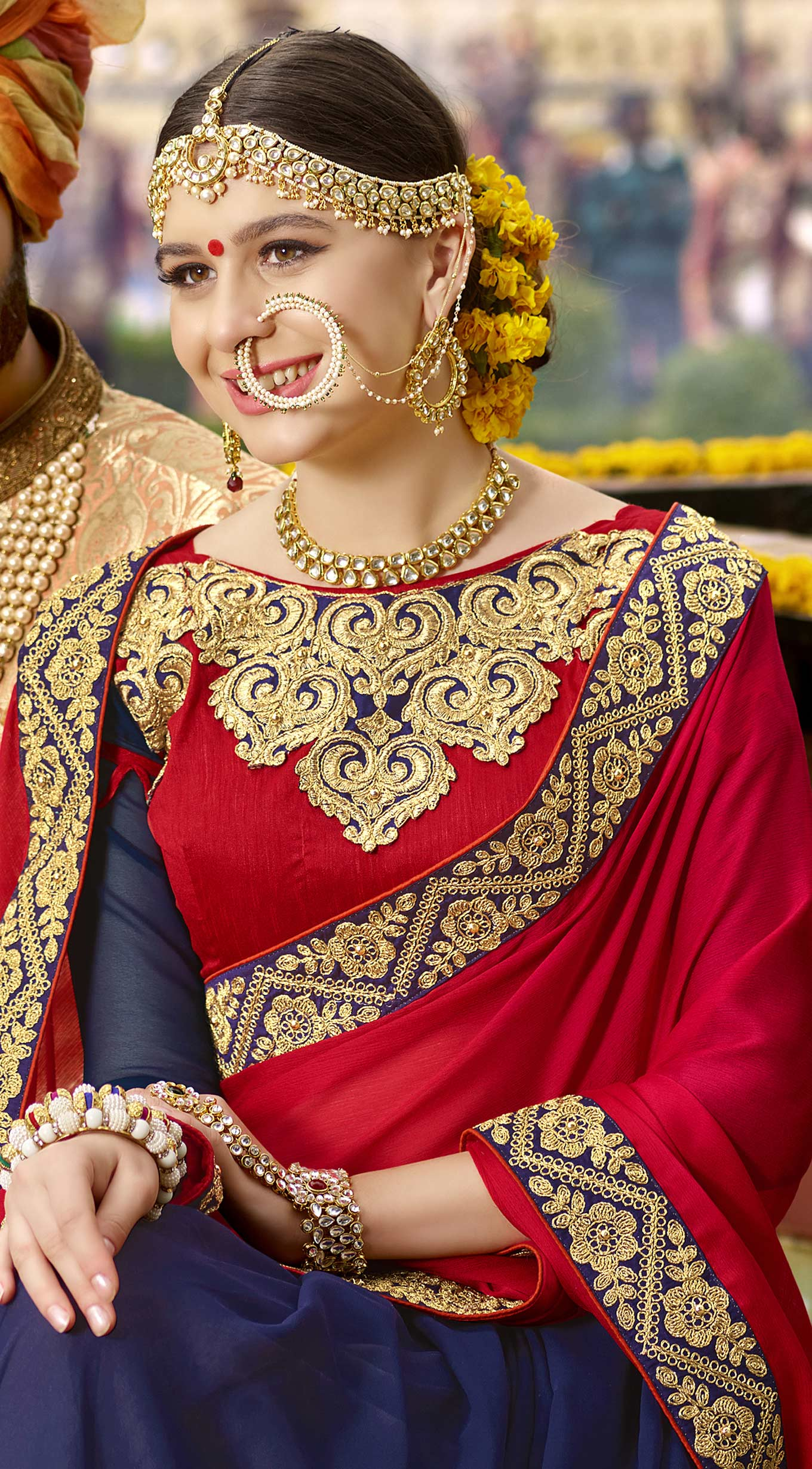 Awesome Red-Blue Colored Partywear Designer Embroidered Georgette Half-Half Saree