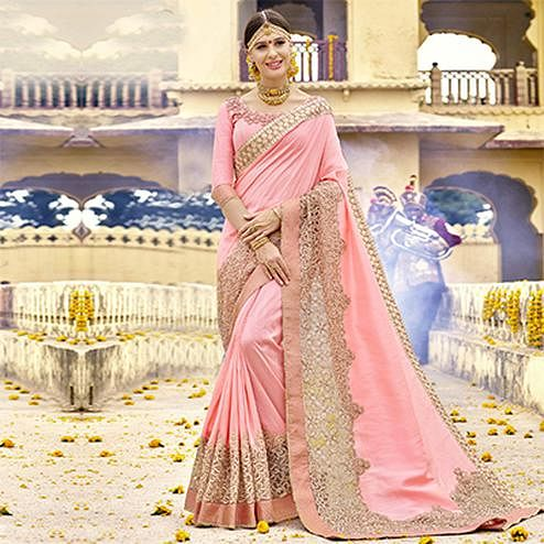 Girlish Pink Colored Partywear Designer Embroidered Art Silk Saree