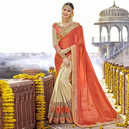 Charming Orange-Beige Colored Partywear Designer Embroidered Art Silk Half-Half Saree