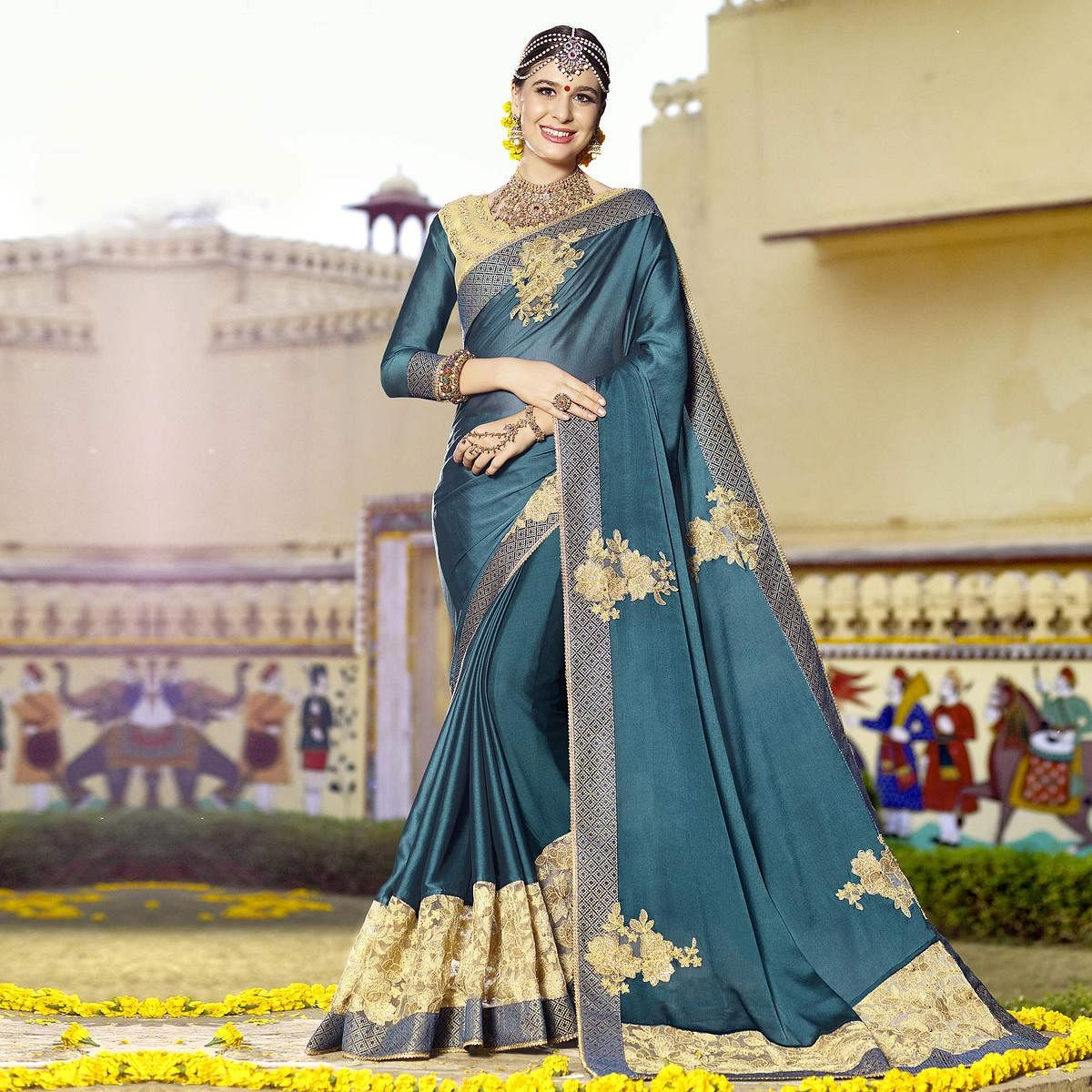 Unique Teal Blue Colored Partywear Designer Embroidered Art Silk Saree