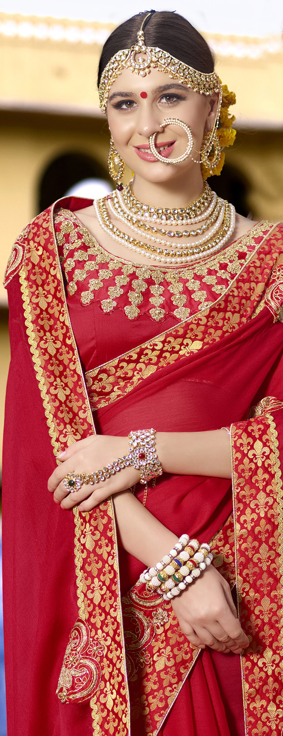 Traditional Red Colored Partywear Designer Embroidered Art Silk Saree