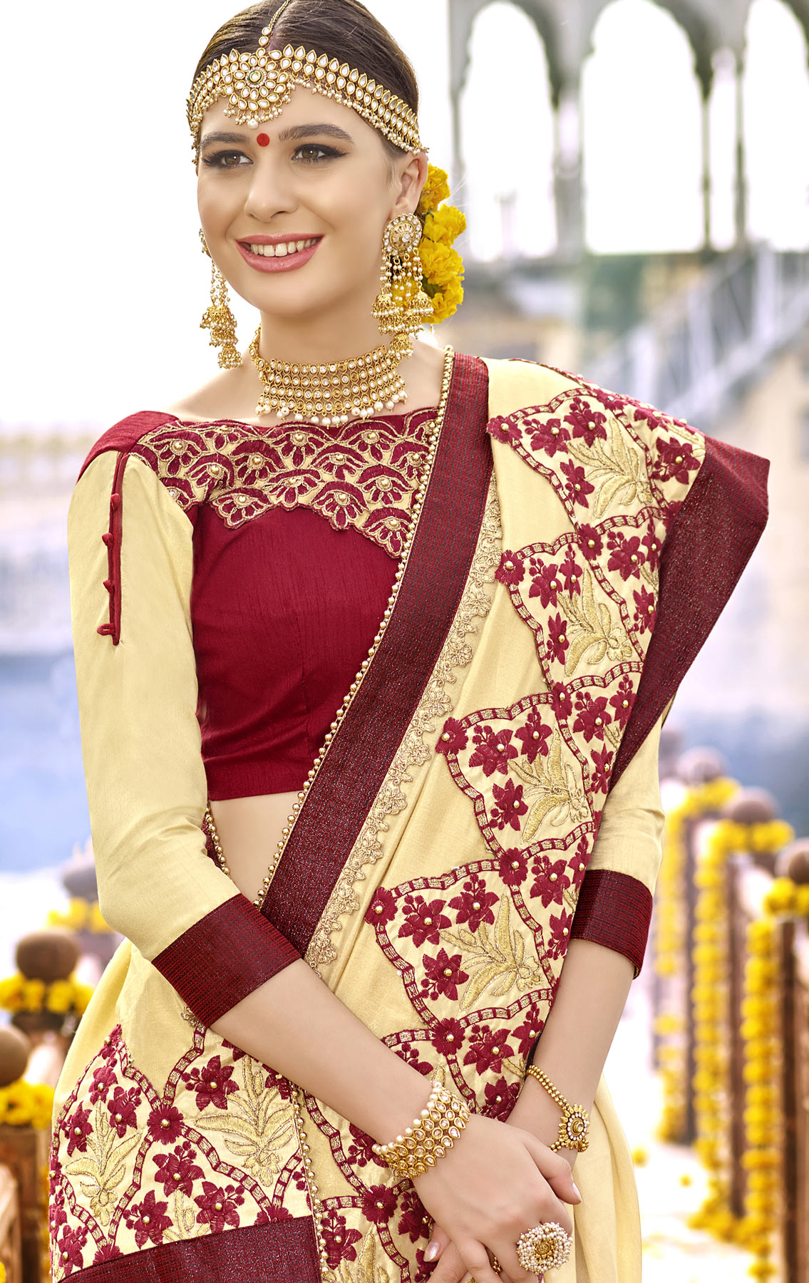 Demanding Yellow Colored Partywear Designer Embroidered Art Silk Saree