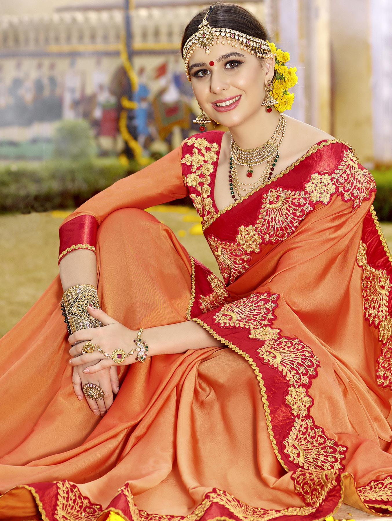 Glowing Orange Colored Partywear Designer Embroidered Art Silk Saree