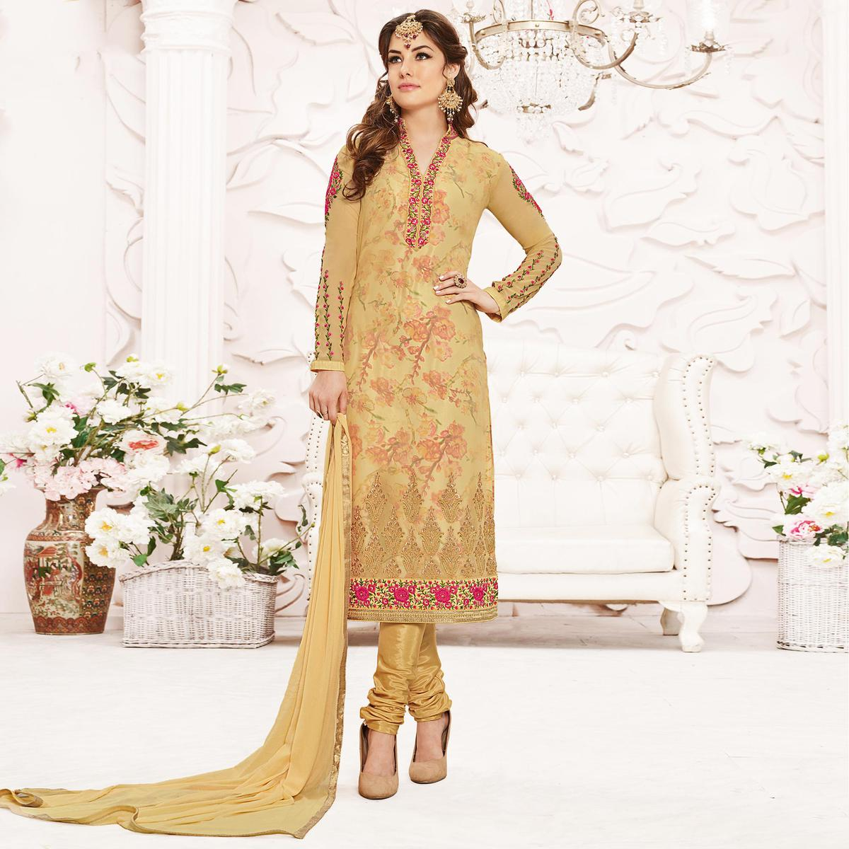 Tan Georgette Floral Embroidered Suit