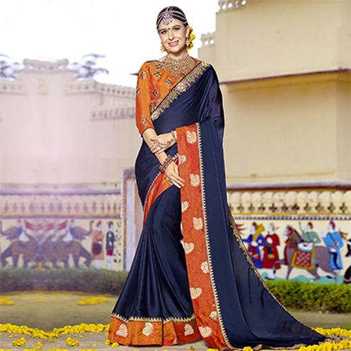 Dazzling Navy Blue Colored Partywear Designer Embroidered Art Silk Saree