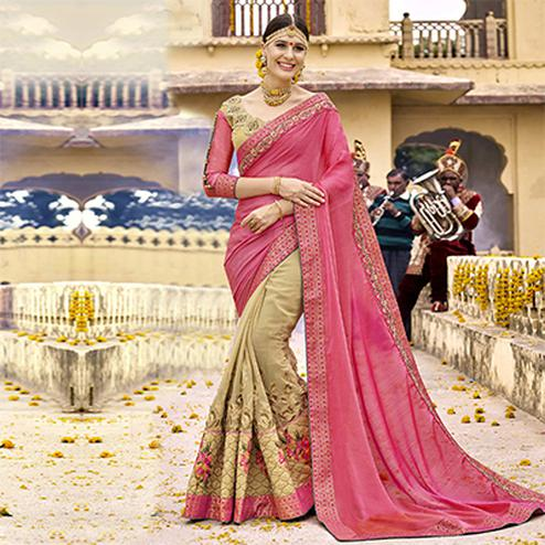 Opulent Pink-Beige Colored Partywear Designer Embroidered Art Silk-Georgette Half-Half Saree