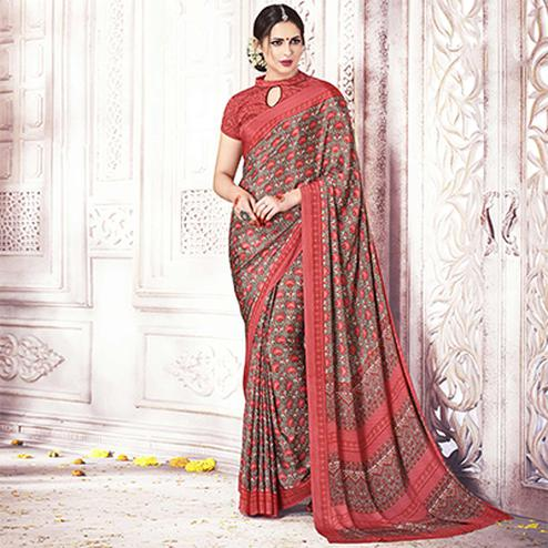 Elegant Grey-Red Colored Casual Printed Silk Crape Saree